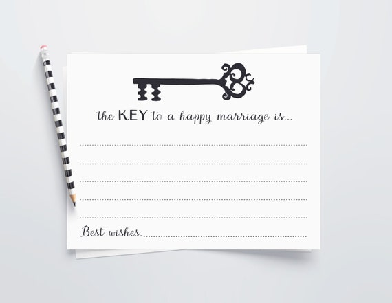 Key To A Happy Marriage Cards Printable Wedding Advice Cards Etsy