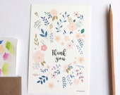 Botanical Thank you simple card, with envelope