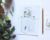 Birthday calendar, plants illustrations