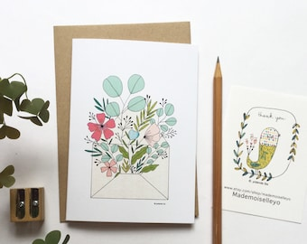 Flowers card with kraft envelope, double card with floral illustration A6