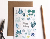 Happy Birthday card with Kraft envelope, plants, cactus illustrations, double card
