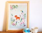 Tiger and toucan poster for kids room