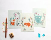 Animal cards fox, birds, owls