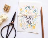 Botanical cards, lemons, flowers and leaves 4 cards set