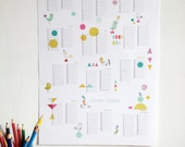 Birthday Calendar poster size A3, instant digital download