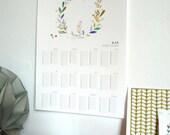 Printable birthdays calendar, Poster size A3, instant download calendar, illustration of birds