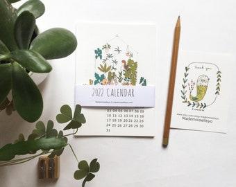 2022 desk wall calendar A6, 2022 illustrated calendar, plants and women portraits calendar