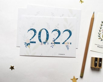 2022 New Year Cards, 2022 happy new year card, 2022 greeting cards A6