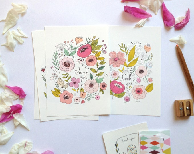 Floral Thank you cards set, simple cards, pink flowers illustration