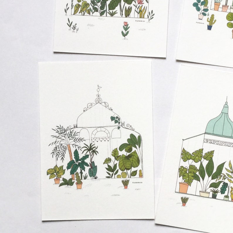 greenhouse 4 cards set Botanical cards
