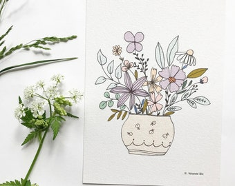 Bouquet card with recycled Kraft envelope