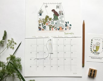 2021 2022 school calendar illustrated with a planner, plants illustrations A4