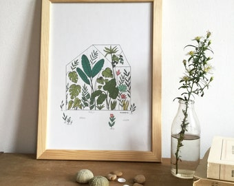 Greenhouse wall illustration size A4