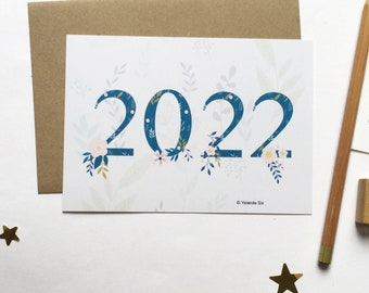 2022 New Year Cards, 2022 happy new year card, 2022 greeting cards A6 with envelope