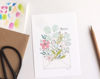 Floral Thank you card with kraft envelope, flowers illustrations simple card, merci write in French