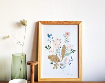 Botanical wall art print, floral art print, flowers print, botanical Illustration, flowers poster wall decor - size A4