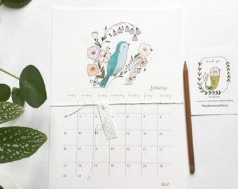 calendar 2022, illustrated calendar A4