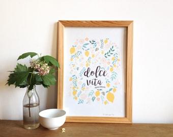 Poster Dolce vita, mon amour, lettering with lemon and flowers design, lemon illustration - Art print for home -  lemon nature decor