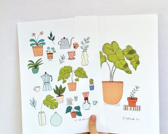 Plants poster, Tea, coffee illustration size A4 for decor your home, office