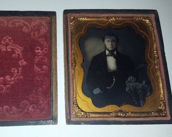 1/6th Plate Ruby Glass Ambrotype Handsome Dressed Victorian Gentleman