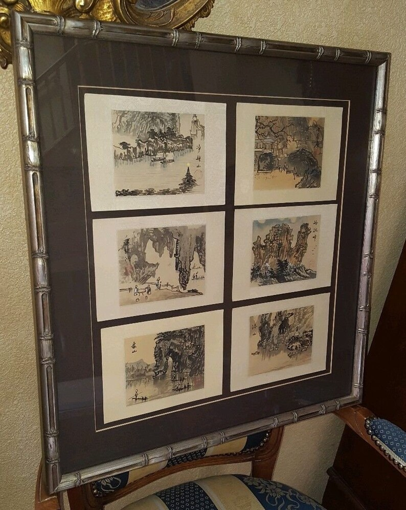 Set of six Framed Japanese Watercolor Paintings Signed Stamped