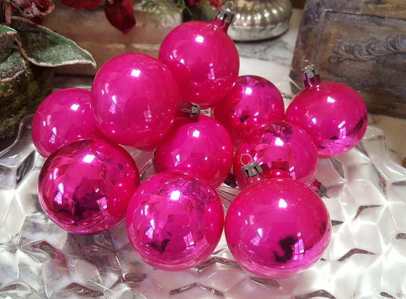 12 1960s Hot Pink Glass Christmas Ornaments Bulbs