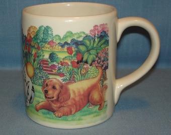 Ceramic Coffee Mug, Playful Puppies 2