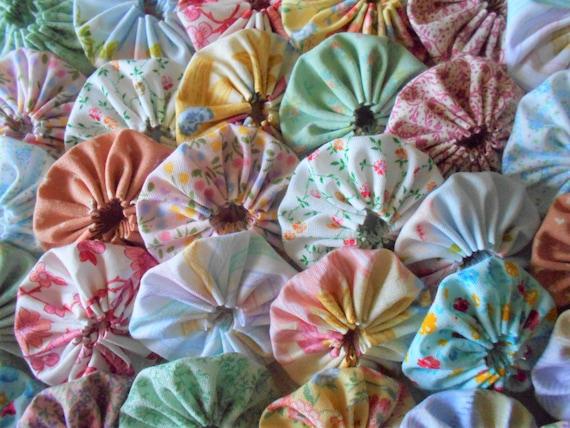 Pastel inch yo yo fabric applique quilting block barrette etsy