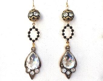 Black Crystal Bridal Earrings, Long Black and Gold Crystal Earrings, Victorian Wedding Earrings, Crystal Earrings, Bridesmaid Earrings