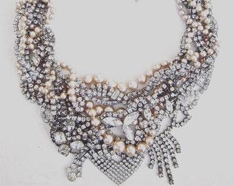 Vintage Rhinestone Wedding Necklace for Bride, Bridal Pearl Rhinestone Wedding Necklace Handmade Unique One of a Kind Wedding Jewelry