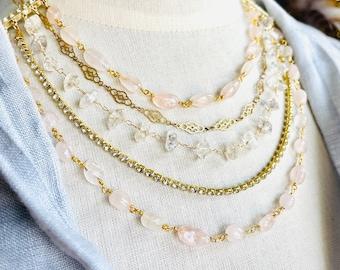 Multi Strand Gemstone Bridesmaid Necklace Gold, Layered Necklace Rose Quartz, Herkimer Diamond, Crystal, Delicate Bridesmaid Jewelry, Dainty