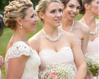 Pearl and Rhinestone Bridesmaid Necklace & Earrings Set, Choose Ribbon Color, Bridesmaid Gift, Swarovski Wedding Necklace, Wedding Jewelry