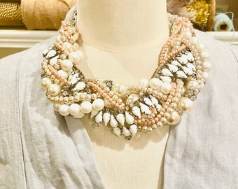Wedding Statement Necklace, Twisted Vintage Pearl Necklace, Champagne Blush Bridal Necklace, White Milk Glass Crystal Handmade