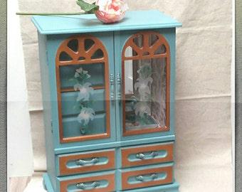 FRENCH Blue Jewelry Box Armoire Style Farmhouse Chic Jewelry Storage