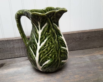 Cabbage leaf majolica pitcher or vase made in Portugal by Olfaire