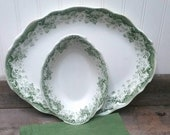 Antique Porcelaine Royal Pitcairns Limited in the Myrtle pattern Large Platter and Small Serving Bowl in Myrtle Green Transferware England