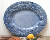 Azure blue Italian Majolica Pottery Platter extra large size farmhouse kitchen decor or Wall decor