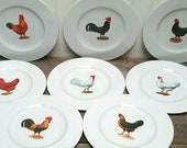 Porcelaine Plates Paris France SMASH beautiful set of eight 8 1 4 quot with French Hen Pairs Farmhouse Kitchen Table top