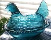 BLUE Glass Hen on Nest 1960s Carnival Glass Easter Table Top Decor