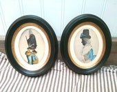 Antique Prints of 18th Century French Patriot and His Wife beautiful all wood black Frame with Gold Veneer (Set of Two)