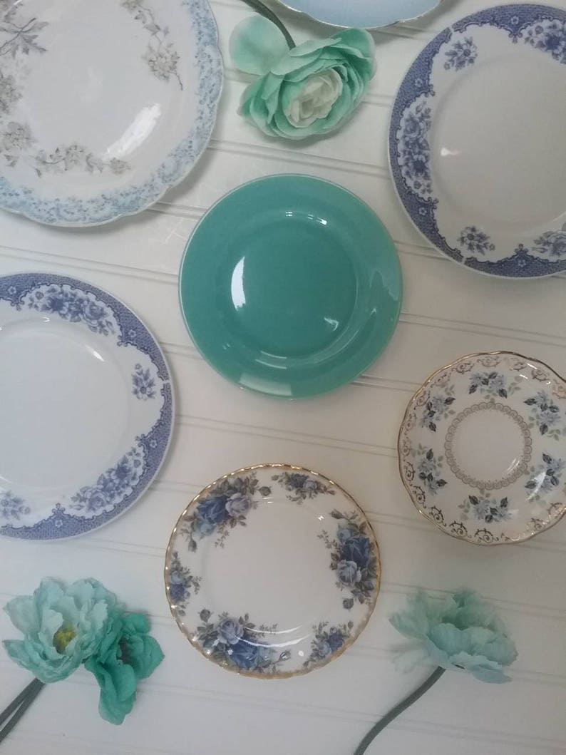 Blue and White Curated Wall Decor or Eclectic Tea Set French Country kitchen Farmhouse Decor Set of 9 plates