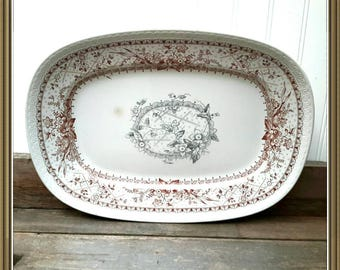 Antique Platter in Lace pattern by Johnson Brothers England c.1880-1900 Gorgeous two tone vitreous extra large serving platter in brown gray