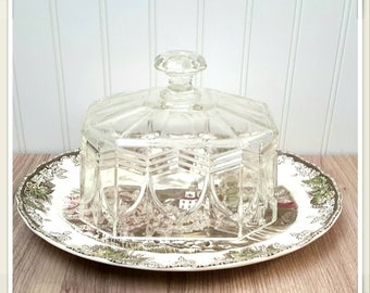 GORGEOUS 1930s Cut Glass Cloche with 1940s English China Platter Farmhouse Cheese Dome French kitchen decor