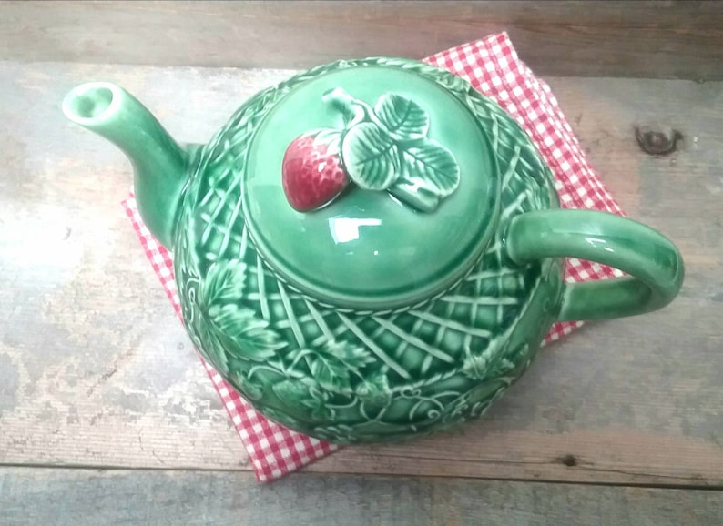 Green Bordallo Pienhero Strawberry Tea Pot made in Portugal Tea Pot with strawberry Lid Vintage collectable Tea Pot