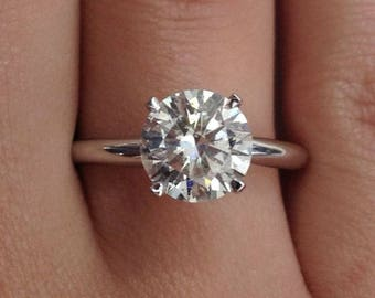 925 Sterling Silver Ring CZ Brilliant Round cut Ladies Engagement Wedding Solitaire Bridal size 4-11 New