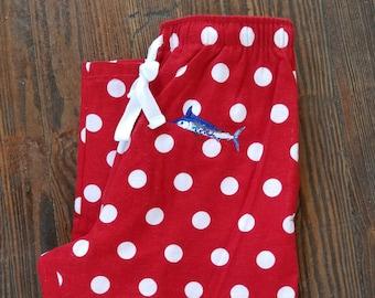 Blue Marlin embroideredr red white polka dot flannel Pajama Pants pocket satin tie