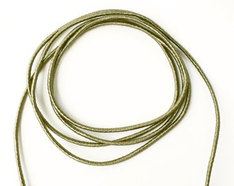 Greenish gray wrapped cord, gray round satin cord, 3.5mm gray rope, 1 meter