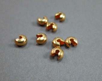 Gold plated crimp beads, knot covers (20)