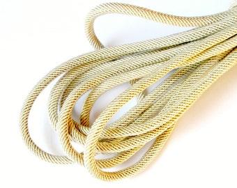 Rib silk cord, 7mm sand beige cord - 1m