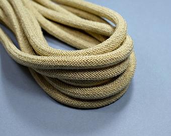 Braided silk cord, beige silk cord, 8mm silk rope, 1m